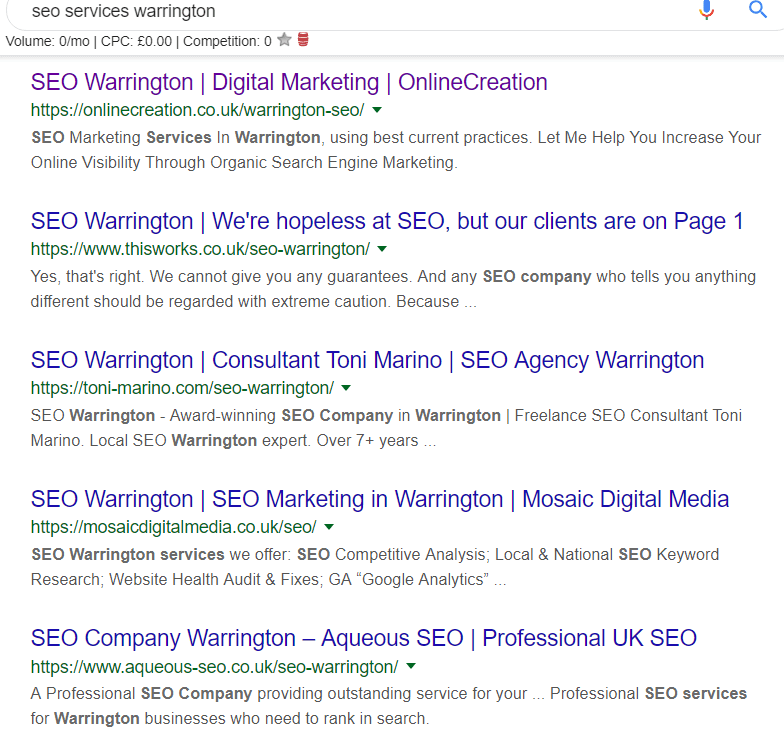 seo marketing in Warrington